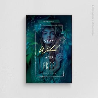 Modelo de panfleto de permanecer selvagem e livre