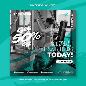 Modelo de panfleto de post de instagram de mídia social de treino de fitness e ginásio ou folheto quadrado