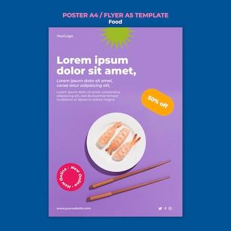 Modelo de panfleto de sushi delicioso