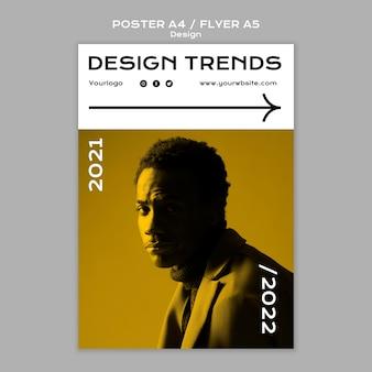 Modelo de panfleto e pôster de tendências de design