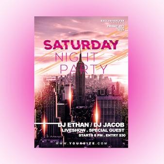 Modelo de panfleto festa de sábado à noite