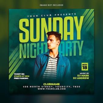Modelo de panfleto para festa de domingo à noite