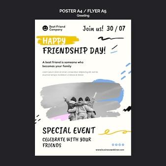 Modelo de panfleto para o dia da amizade