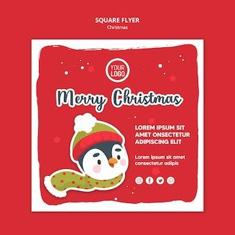 Modelo de panfleto quadrado de anúncio de feliz natal