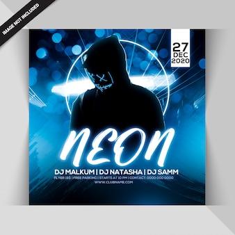 Modelo de panfleto quadrado de festa à noite neon