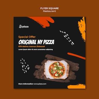 Modelo de panfleto quadrado de restaurante de comida