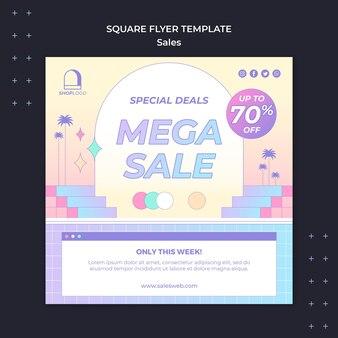 Modelo de panfleto quadrado de vendas retrô