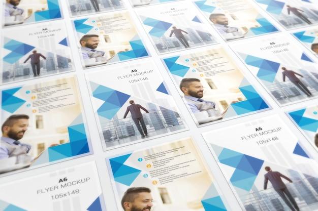 Modelo de panfletos em perspectiva de azulejos