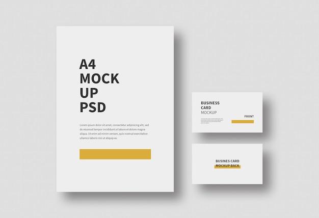 Modelo de papel a4 e cartão de visita