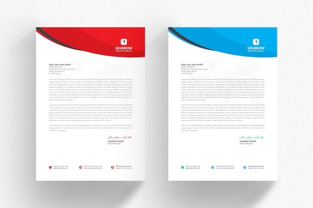 Modelo de papel timbrado branco com detalhes em azul e vermelho