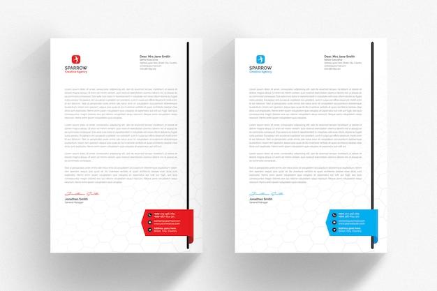 Modelo de papel timbrado corporativo com detalhes em azuis e vermelhos