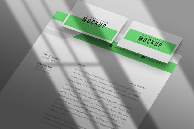 Modelo de papel timbrado e cartão de visita psd