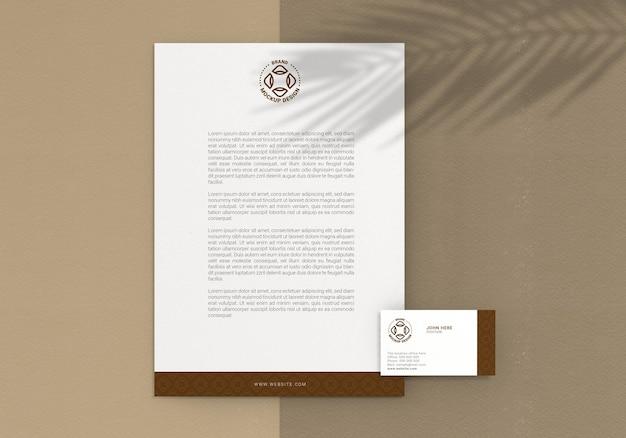 Modelo de papel timbrado e cartão de visita