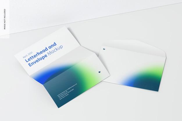 Modelo de papel timbrado e envelope, vista em perspectiva