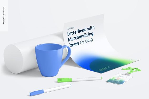 Modelo de papel timbrado e itens de merchandising, vista lateral