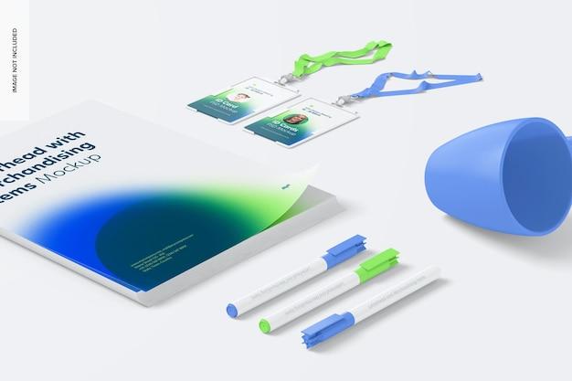 Modelo de papel timbrado e itens de merchandising
