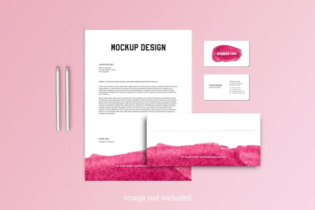 Modelo de papel timbrado, envelope e cartão de visita