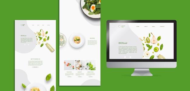 Modelo de papelaria de comida bio com foto