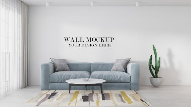 Modelo de parede atrás do sofá em cena 3d