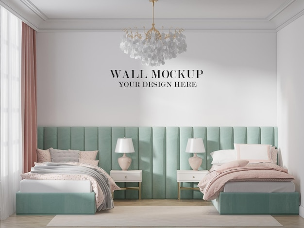 Modelo de parede de quarto duplo em renderização 3d