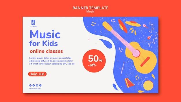 Modelo de plataforma de música banner infantil