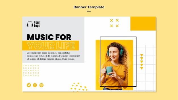 Modelo de plataforma de música de banner