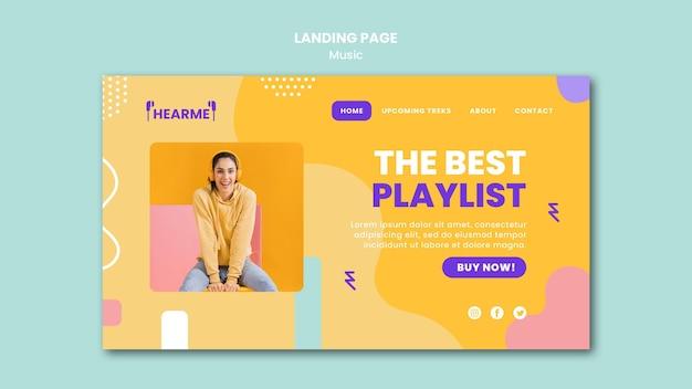 Modelo de plataforma de música para página de destino