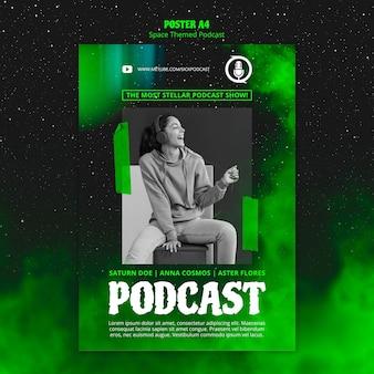 Modelo de podcast com tema de espaço para cartaz