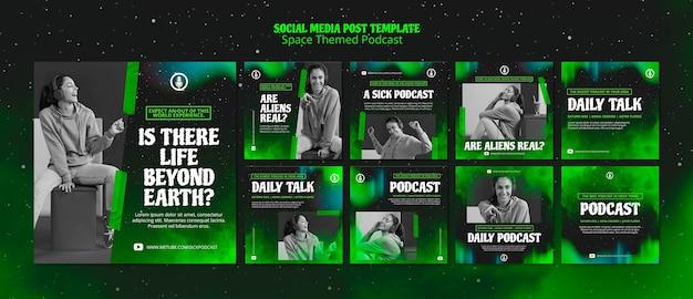 Modelo de podcast com tema de espaço para publicação em mídia social