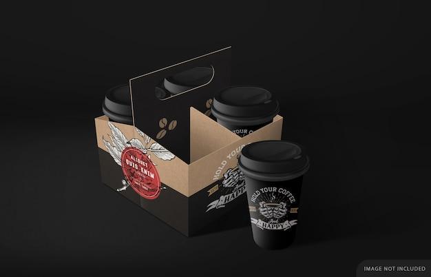 Modelo de porta-copos de papelão para levar café