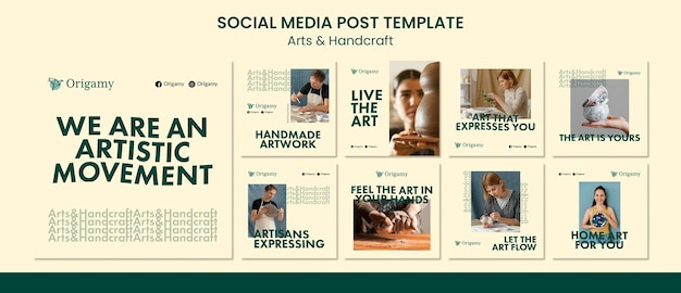 Modelo de pós-design de arte e artesanato para mídia social