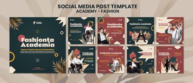 Modelo de pós-design de mídia social da fashion academy