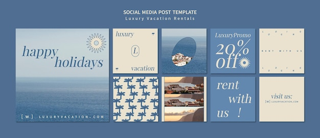 Modelo de pós-design de mídia social de aluguel de férias de luxo insta