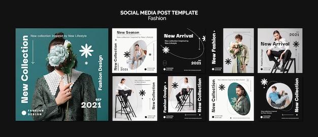 Modelo de pós-design de mídia social de moda