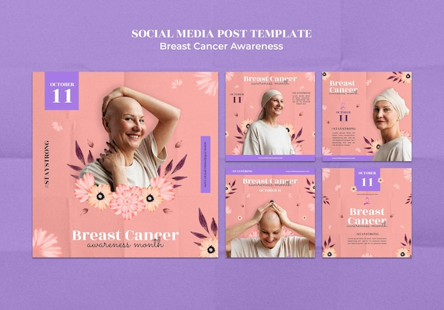 Modelo de pós-design de mídia social para conscientização sobre câncer de mama