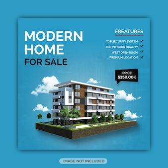 Modelo de pós-design de mídia social para venda de apartamentos imobiliários