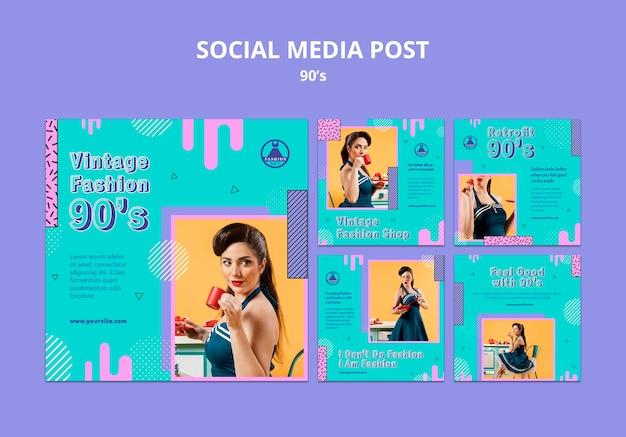 Modelo de pós-design retro de mídia social insta dos anos 90