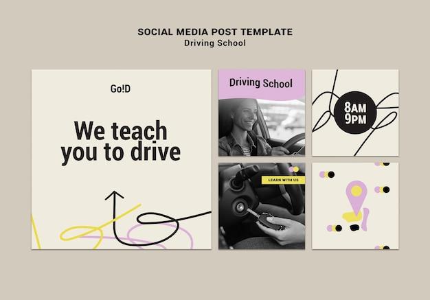 Modelo de post de design de mídia social para a escola de condução