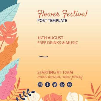 Modelo de post de festival de flor desenhada de mão