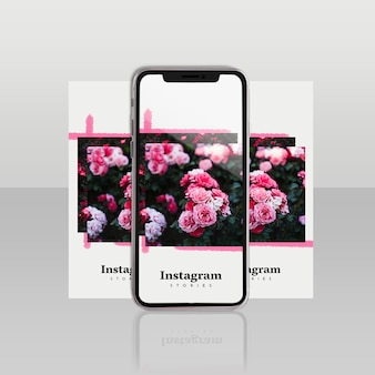 Modelo de post do instagram com smartphone e conceito floral