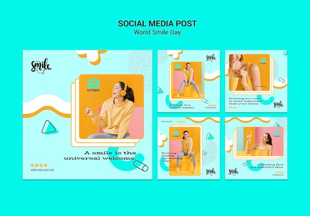 Modelo de post do mundo sorriso dia conceito mídias sociais