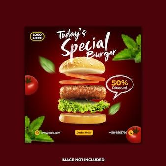 Modelo de post instagram de hambúrguer especial hoje