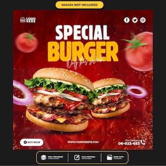 Modelo de post instagram de mídia social do delicious burger