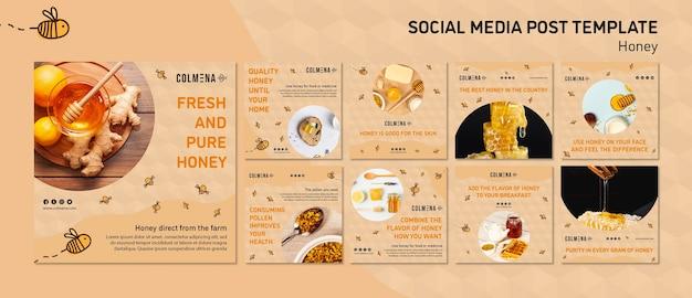 Modelo de post - mídia social de loja de mel