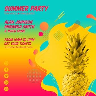 Modelo de post quadrado de festa de verão colorido