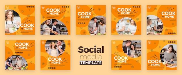 Modelo de postagem - cozinhar em casa mídias sociais
