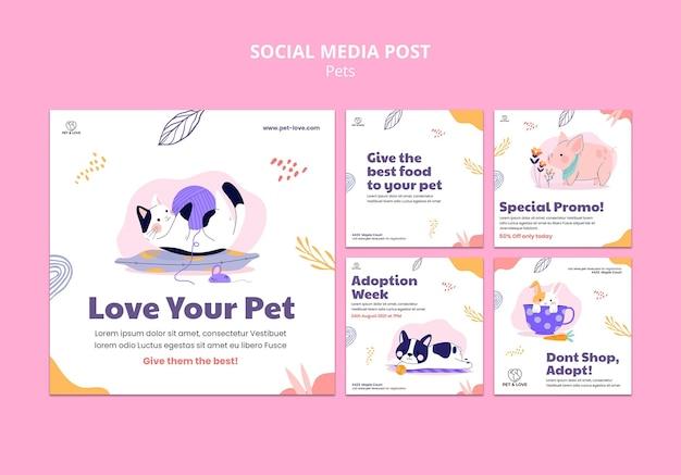Modelo de postagem de amor de animal de estimação em mídia social