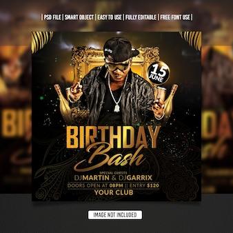 Modelo de postagem de aniversário dj party flyer em mídia social premium psd