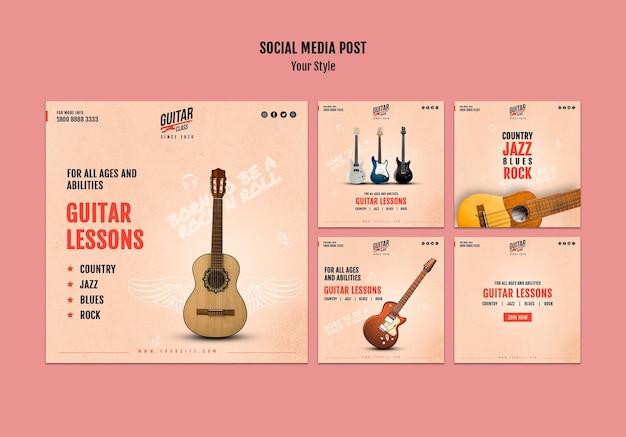 Modelo de postagem de aulas de guitarra nas redes sociais
