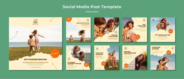 Modelo de postagem de aventura ao ar livre para crianças nas redes sociais